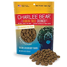 Charlee Bear Crunch Grain Free Dog Treats – Bacon and Blueberry Flavor – 8 oz Packs