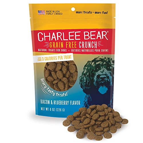 Charlee Bear Grain Free Crunch Dog Treats, Bacon & Blueberry Flavor, 8 oz