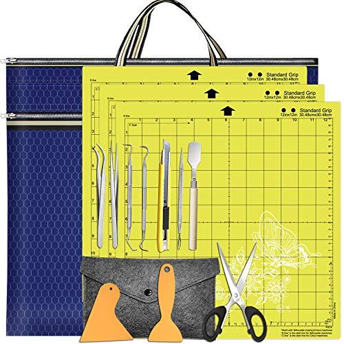 "HIRALIY 11 Pcs Craft Vinyl Weeding Tools Set with 3 Pack 12"" x 12"" Cutting Mats Standard-Grip and Vinyl Carrying Organizer Bag,Vinyl Weeding Tool Kit for Cricut/Explore Air 2/Silhouette Cameos"