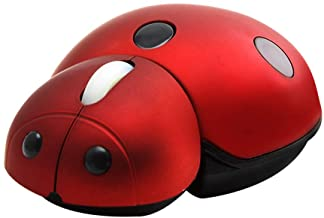 elec Space 2.4G Wireless Mouse Small Cute Animal Ladybug Shape 3000DPI Portable Mobile Optical Mouse with USB Receiver 3 B...
