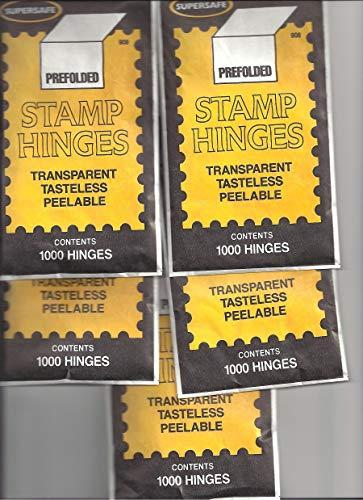 Supersafe Stamp Hinges FIVE Pack -- Total of 5000 Hinges