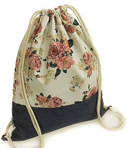 Ferocity Prämie Tasche Turnbeutel Rucksack Sportbeutel Bag Gym-Sack Vintage Blumen [010]