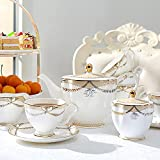 HGJINFANF Juego de 21 platillos de cerámica para café, taza de té, taza de té, taza de azúcar, jarra de crema para 6