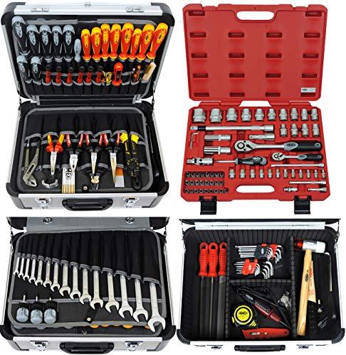 Famex Werkzeug FAMEX 418-20 Alu Werkzeugkoffer gefüllt mit TOP Werkzeug und 66-tlg. Steckschlüsselsatz