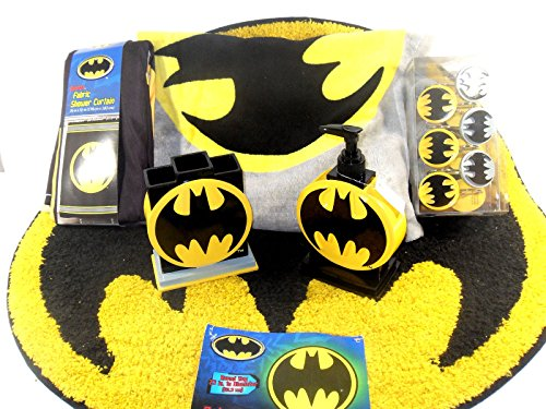 Batman Bathroom Set, Shower Curtain, Hooks, Bath Rug, Bath Towel