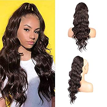 Dark Brown Drawstring Ponytail Extension Long Curly Wave Synthetic Ponytail Hair Extension Clip in Ponytail Hairpiece for Women  4#