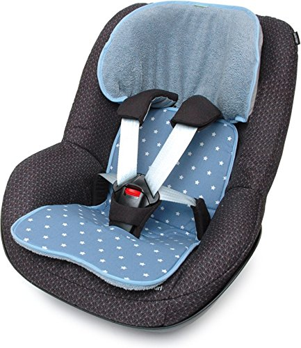 PRIEBES FELIX Sitzauflage für Autokindersitz Gruppe 1 | Universal Sitzeinlage für Kindersitze | Schonbezug 100% Baumwolle | waschbar & atmungsaktiv |beidseitig verwendbar, Design:stars denim
