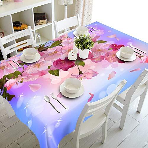 XXDD Mantel Rectangular Impermeable de Flores de Lirio Lila púrpura Exquisito 3D para decoración de Mesa de Cocina Mantel A6 150x210cm