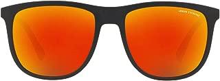 A X Armani Exchange Men's AX4078S Square Sunglasses, Matte Black/Grey Mirror Red Yellow, 56 mm