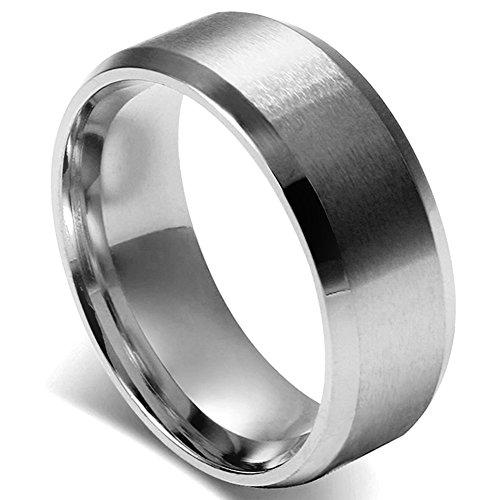 Flongo メンズ指輪 結婚リング ステンレス指輪 シンプル ファション 8MM 愛の証 幸せの鍵 軽量 男の子 プレゼント バレンタインデー クリスマス 記念日 誕生日 シルバー 「日本サイズ21号」