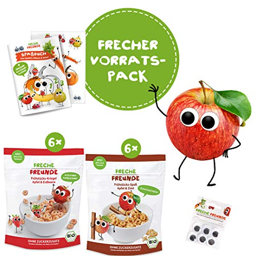 FRECHE FREUNDE Frühstückspaket mit Apfel, Bio Corn-Flakes ohne Zuckerzusatz, Familienpack Cerealien für Kinder und Babys ohne Zusatzstoffe ab 1 Jahr