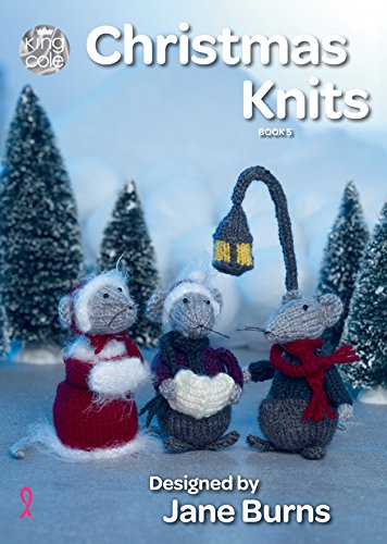 King Cole Christmas Knits Book 5 - Baubles Tea Cosy Cutlery Holder Garland Wreath Toy Mice & Penguin