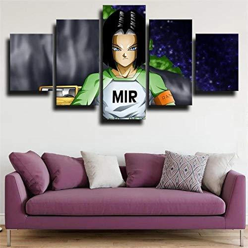 SESHA Póster De Lienzo 5 Piezas HD Arte De La Pared Impresa Decoración Dormitorio El Hogar Pintura De La Lona Foto El Dragón Tres Androide 17(Enmarcado)