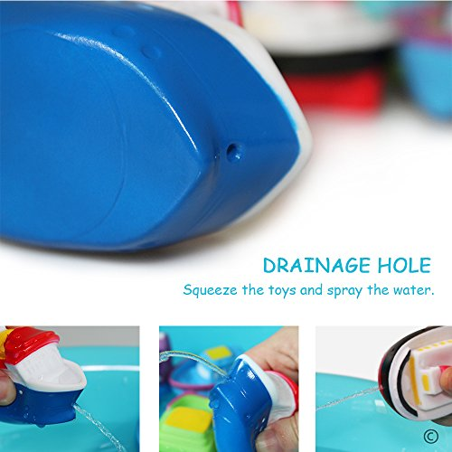 JUNSHEN Bath Toys Floating Bath Boat Toys(6PCS),Baby Soft Bath Time Toys,Bathtub Learning Bathtub Pool Toys and Soft Bath Toys for Toddlers