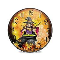 12インチの丸い壁の時計カチカチ音をたてないサイレントバッテリー式オフィスキッチンベッドルーム家の装飾-魔女準備ポーション