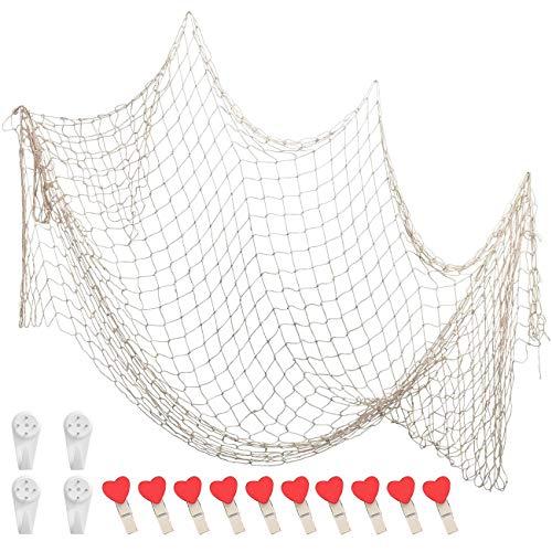 FANDE Deko Fischernetz Set, 100 * 200 Fischernetz Dekoration mit 4 Haken und 10 Liebesclips, Hintergrund Wand Deko für Zimmer, Hochzeit, Party, Fotografie, Bühne (Beige)