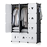 GEORGE&DANIS Portable Wardrobe Closet Armoire Plastic Dresser Bedroom Cube Storage Organizer, Black, 18 inches Depth, 3x4 Tiers