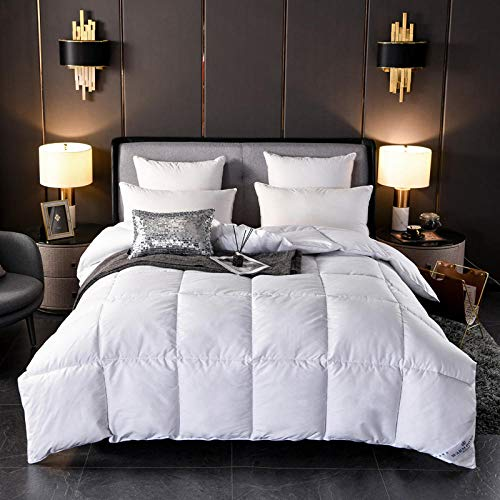 Hahaemall King Size Feather Duvet - 100% Cotton Anti Dust Mite & Down Proof Fabric - Anti Allergen Winter Quilt-white_200x230cm-2kg