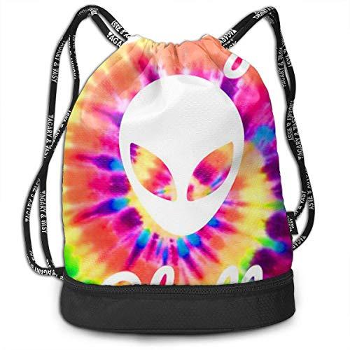 PmseK Rucksack Bedruckt mit Kordelzug, Drawstring Bag Tie Dye Alien Shoulder Bags Travel Sport Gym Bag Print – Yoga Runner Daypack Shoe Bags mit Reißverschluss und Taschen