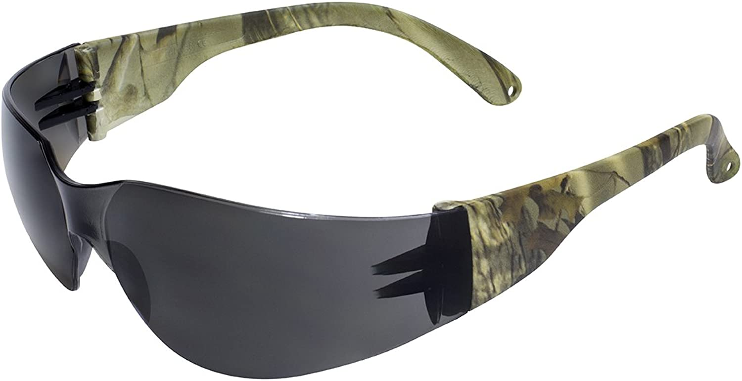 Global Vision Eyewear Rider for CAMO SM Rider Safety Glasses, Smoke Lens, Temples, Forest Camo