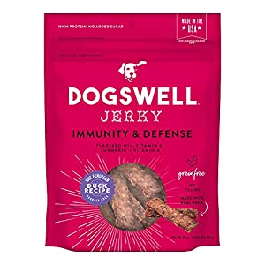 Dogswell Jerky for Immunity & Defense – Chewy Grain Free Dog Jerky Treat and Immune System Support (10 oz. Duck)