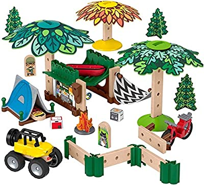 Fisher-Price Wonder Makers Design System Soft Slumber Campground - 60+ Piece Building and Wooden Track Play Set for Ages 3 Years & Up from Fisher-Price