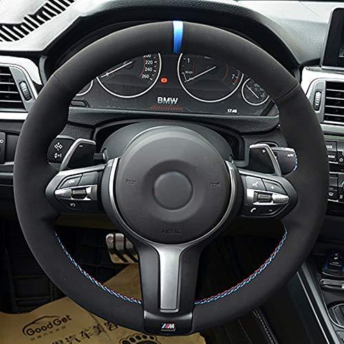 JIRENSHU Schwarzer Auto-Lenkradbezug, für BMW F30 F33 F87 M2 F80 M3 F82 M4 M5 F12 F13 M6 F85 X5 M F86 X6 M Sport