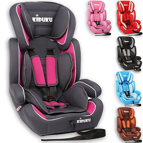 KIDUKU® Silla de coche, crece con el niño, 9 kg-36 kg (1-12 años), Grupo 1/2/3 (Gris/Rosa)