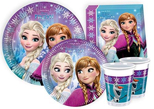 Ciao-Kit Party Tavola Disney Frozen Persone (112 Pezzi Ø23cm, Piatti Ø20cm, 24 Bicchieri, 40 Tovaglioli), Multicolore, Y2499