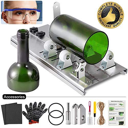 Souarts Glassnijder voor flessen, roestvrij staal, flessensnijder, flessensnijder, voor doe-het-zelvers H