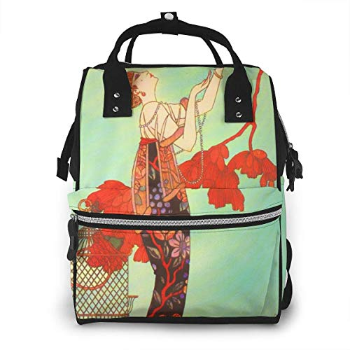 NHJYU Sac à langer, Large Capacity Waterproof Travel Ma-na-ger,baby Care Replacement Bag Versatile Stylish And Durable, Suitable For Mom And Dad,Woman Exotic Vintage Painting