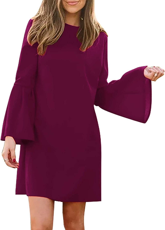 Manydress Women's Max 56% OFF Dress Long Bell Part Mini Shift Elegant Sleeve Max 41% OFF