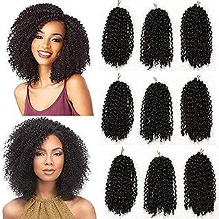 9Pcs Marlybob Crochet hair 8inch Short Kinky Curly Crochet Braids Black Color Afro Jerry Curl Twist Hair Soft Synthetic Braiding Hair(1B#)