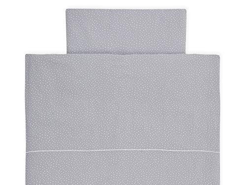 KraftKids Bettwäsche-Set Musselin grau Punkte aus Kopfkissen 40 x 60 cm und Bettdecke 135 x 100 cm, Bettbezug aus Baumwolle, handgearbeitete Bettwäsche gefertigt in der EU