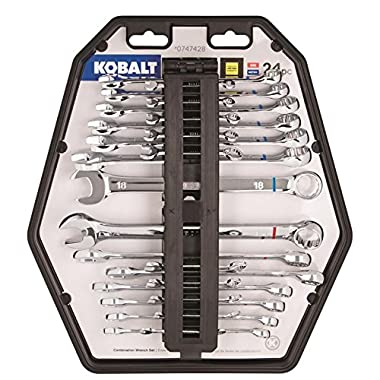 Kobalt 24 pc Combination Wrench Set, SAE and Metric, Full Size and Mini Size