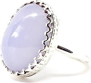 Elegante anello con bellissimo Calcedonio color malva da 11,3 carati da 18,2 mm x 13 mm, realizzato interamente a mano in ...