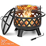 KINGSO 2-in-1 Outdoor Fire Pit with Cooking Grate 30' Heavy Duty Fire Pits Outdoor Wood Burning Steel BBQ Grill Firepit Bowl with Spark Screen Cover Log Grate Fire Poker for Backyard Bonfire Patio