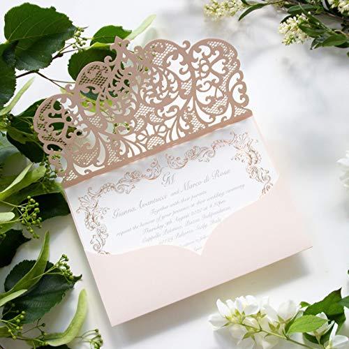 Fai da te apribile taglio laser inviti matrimonio partecipazioni matrimonio pesca carta con busta - campione prestampato !!