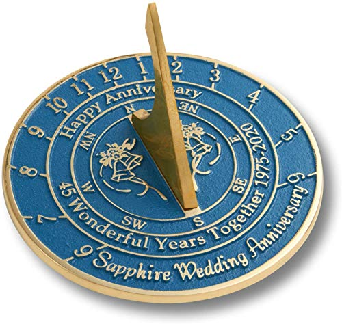 Antique Nauticals Cadran solaire 45e saphir 2020 pour anniversaire de mariage