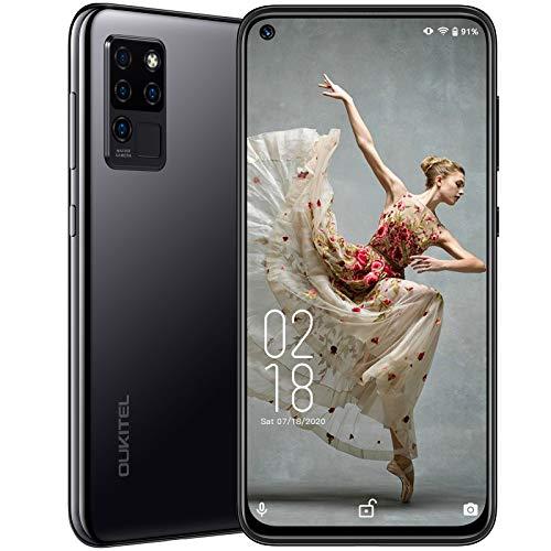 OUKITEL C21 Smartphone, SIM-Frei, entsperrt, 16,3 cm (6,4 Zoll), Vollbild, 4 GB + 64 GB, 20 MP Selfie-Kamera, 4 G Dual-SIM, Android 10, 4000 mAh Akku, Android-Handy, UK-Version, Schwarz