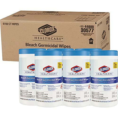 Clorox Healthcare Bleach Germicidal Wipes, 150 Count Canister - Pack of 6 (30577)
