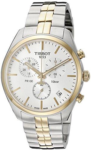 Tissot Herren-Uhren Analog Quarz One Size Silber/Gold/Bicolor Edelstahl 32001346