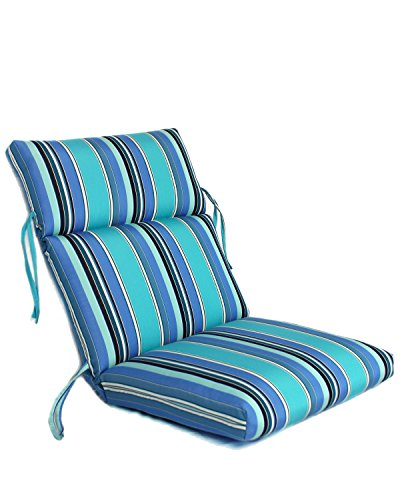 """Comfort Classics Inc. 22W x 44L x 5H Hinge at 24"""" Sunbrella Outdoor CHANNELED Chair Cushion in Dolce Oasis"""