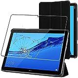 ebestStar - Funda Compatible con Huawei MediaPad M5 Lite 10.1 Carcasa Cuero PU y Silicona, Smart Cover Reposo Automático, Negro +Cristal Templado [M5 Lite 10.1: 243.4 x 162.2 x 7.7mm, 10.1'']