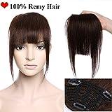 (7'=18cm,25g) Rajout Frange Clip Naturel Frange Cheveux Naturel a Clip [3 Clips Anti-Glisse] Cheveux Tombent/S'emmêlent Pas [ Marron Foncé ]