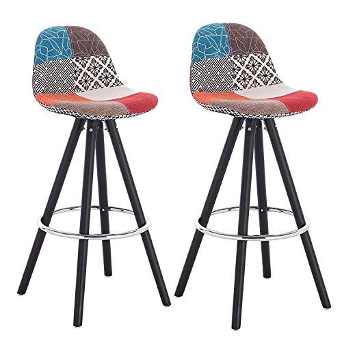 Wenh Barhocker Set von 2 Stück Barhocker Multicolor Patchwork Frühstück Küchentheke Bar Stühle Holz Bein