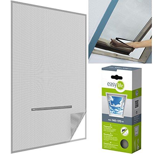 easy life® Fliegengitter für Dachfenster 140 x 170 cm in weiß Eingriff mit Reißverschluss - auch in anthrazit wählbar