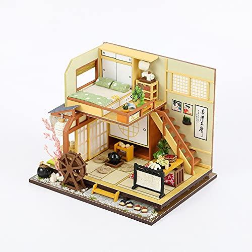 Muebles De Madera Modernos, Mini - Casa De MuñEcas, Casa De MuñEcas Diy, Casa De MuñEcas Hecha A Mano, Modelo Creativo De Sala De Juegos, Regalo De CumpleañOs De Novia (Estilo ArquitectóNico JaponéS)