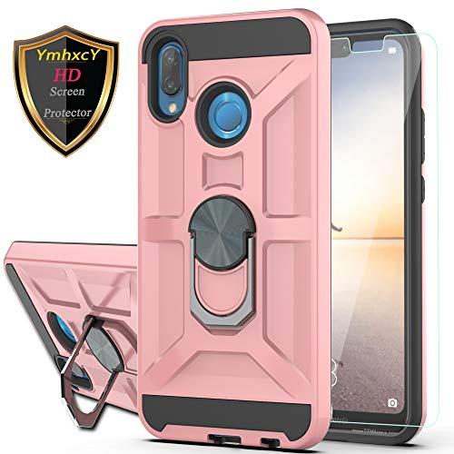 YmhxcY Custodia Huawei P20 Lite Cover con HD Pellicola Protettiva,360° Girevole Regolabile Ring Armor Bumper TPU Case Magnetica Supporto Smartphone Silicone Custodie per P20 Lite-ZS Rosa
