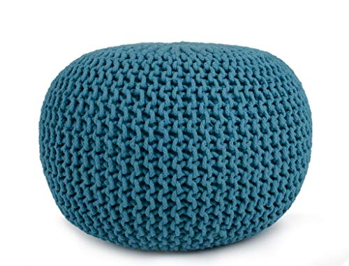 Cotton Pouf, 16' x 16' x 16' Small size, Hand-Knit Decorative and Comfortable Foot Stool and Ottoman - Turquoise